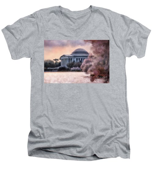 Men's V-Neck T-Shirt featuring the digital art A Cherry Blossom Dawn by Lois Bryan