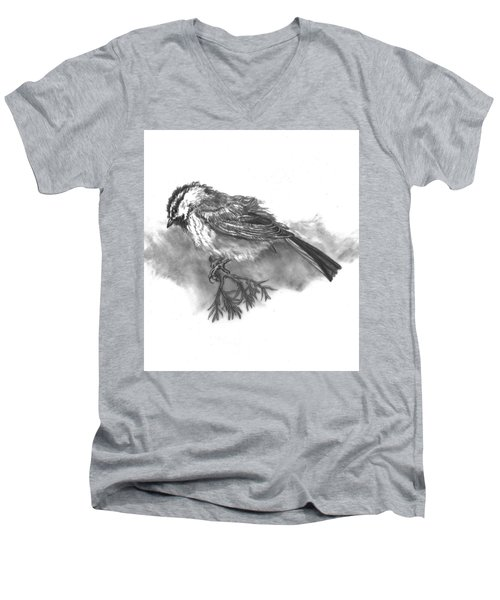A Chickadee Named Didi Men's V-Neck T-Shirt by Dawn Senior-Trask