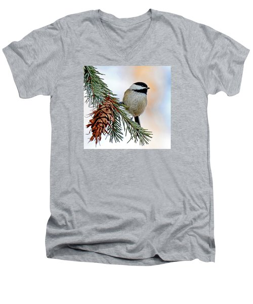 Men's V-Neck T-Shirt featuring the photograph A Christmas Chickadee by Rodney Campbell
