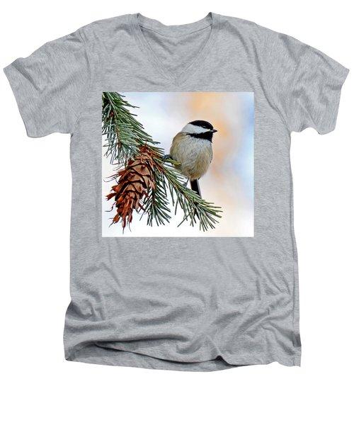 A Christmas Chickadee Men's V-Neck T-Shirt