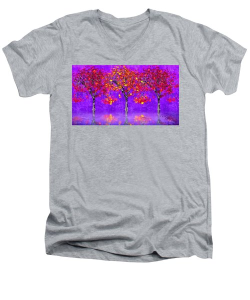 A Colorful Autumn Rainy Day Men's V-Neck T-Shirt by Gabriella Weninger - David
