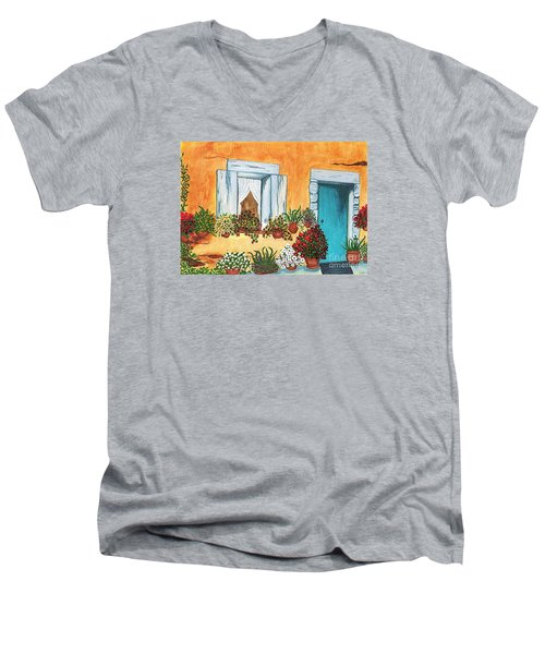 Men's V-Neck T-Shirt featuring the painting A Cottage In The Village by Patricia Griffin Brett