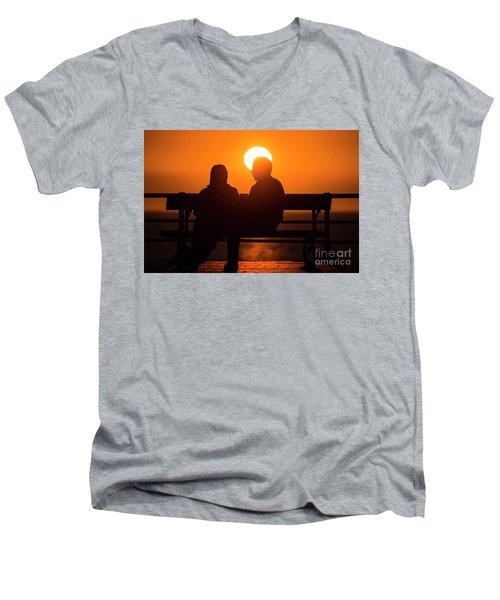 A Couple Sitting At Sunset Men's V-Neck T-Shirt
