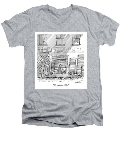 A Couple Stands At The Curb By An Upside Down Car Men's V-Neck T-Shirt