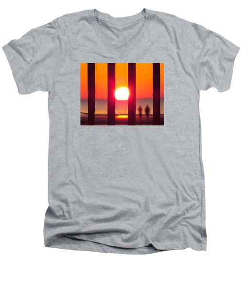 Men's V-Neck T-Shirt featuring the photograph A Couple's Sunrise by Nikki McInnes