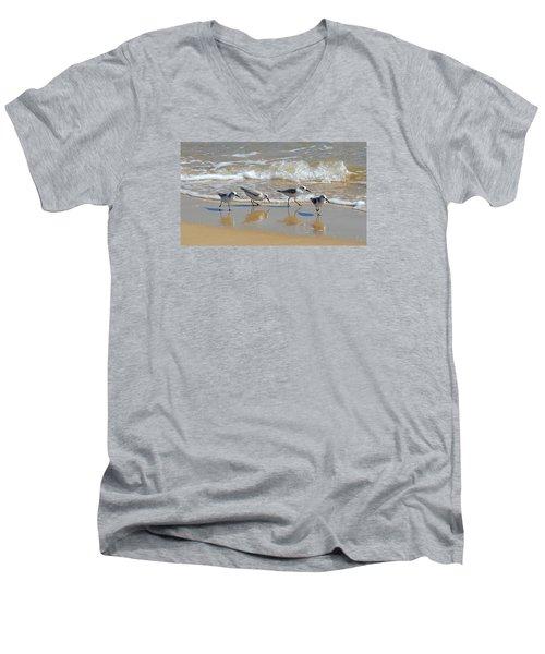 A Cute Quartet Of Sandpipers Men's V-Neck T-Shirt