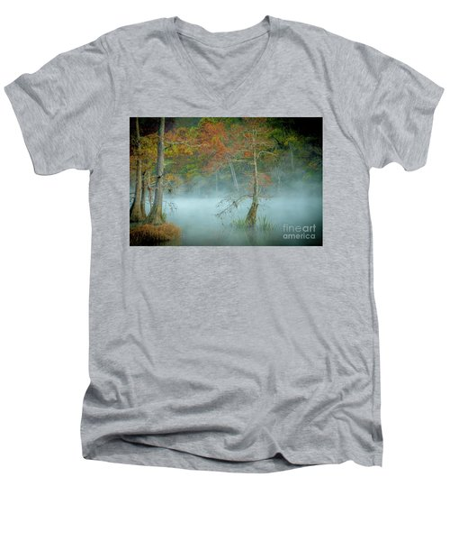 A Dancing Cypress Men's V-Neck T-Shirt by Iris Greenwell
