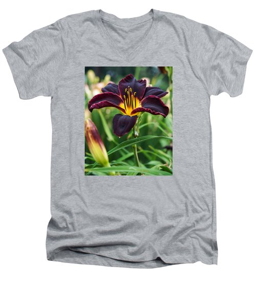 Men's V-Neck T-Shirt featuring the photograph A Dark Purple Tiger Lilly by B Wayne Mullins