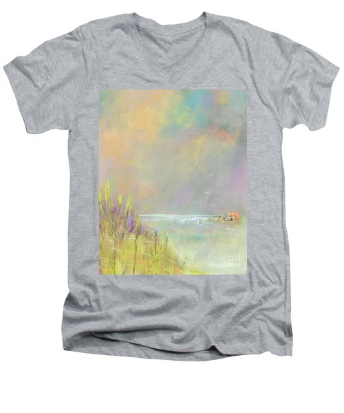 Men's V-Neck T-Shirt featuring the painting A Day At The Beach by Frances Marino