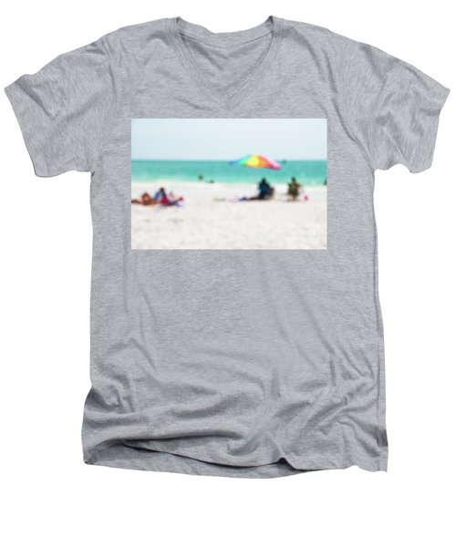 Men's V-Neck T-Shirt featuring the photograph a day at the beach IV by Hannes Cmarits
