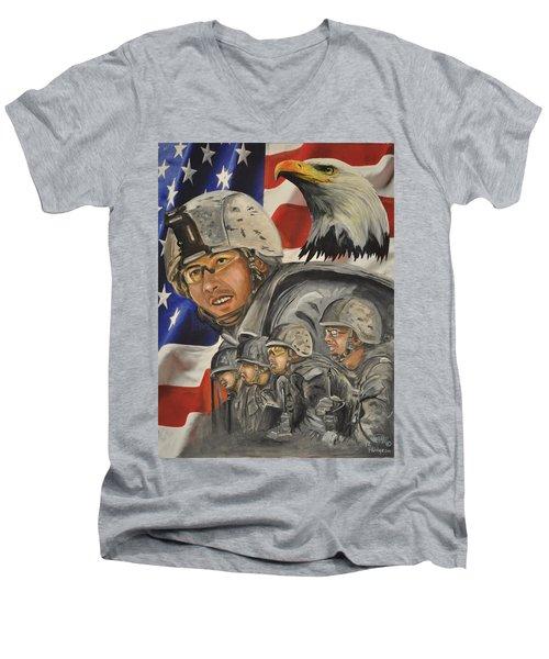 A Day At Work Men's V-Neck T-Shirt by Ken Pridgeon