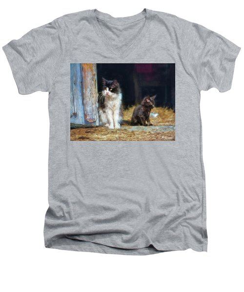A Day In The Life Of A Barn Cat Men's V-Neck T-Shirt