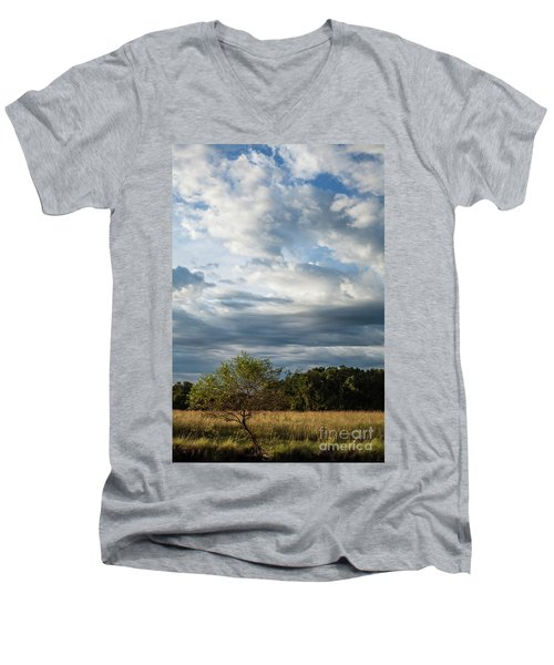 Men's V-Neck T-Shirt featuring the photograph A Day In The Prairie by Iris Greenwell