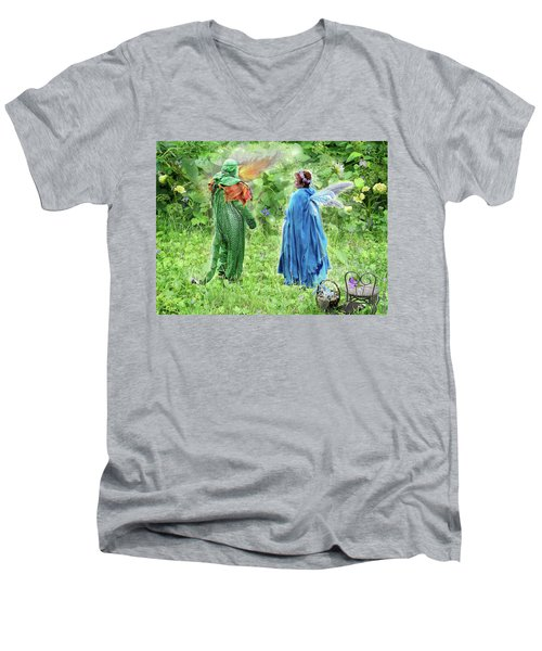 A Dragon Confides In A Fairy Men's V-Neck T-Shirt by Lise Winne