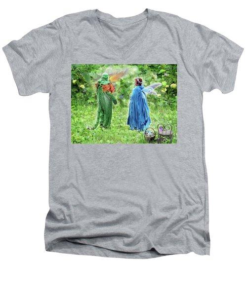 A Dragon Confides In A Fairy Men's V-Neck T-Shirt