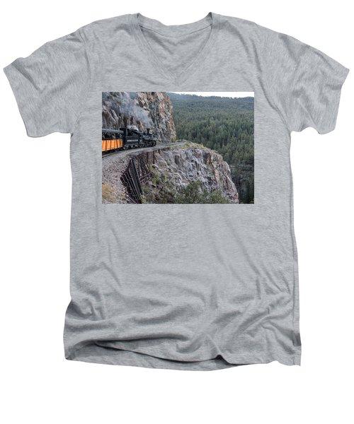 A Durango And Silverton Narrow Gauge Scenic Railroad Train Along A San Juan Mountains Precipice Men's V-Neck T-Shirt by Carol M Highsmith
