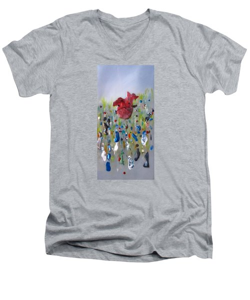 A Face In The Crowd Men's V-Neck T-Shirt by Mary Kay Holladay