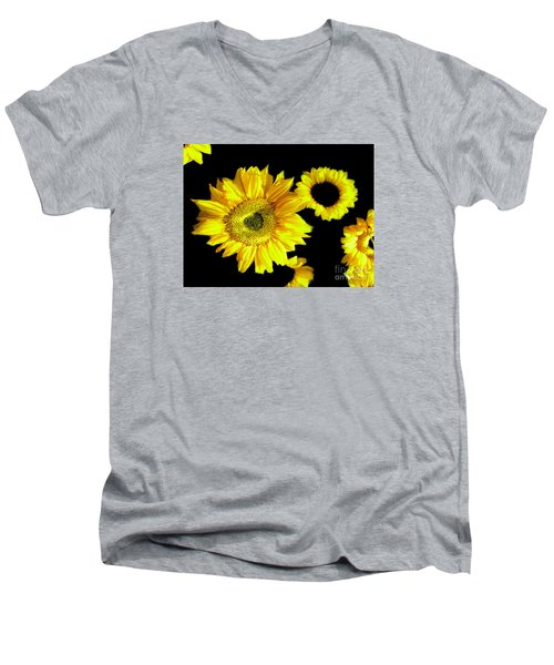 Men's V-Neck T-Shirt featuring the photograph A Few Sunflowers by Merton Allen
