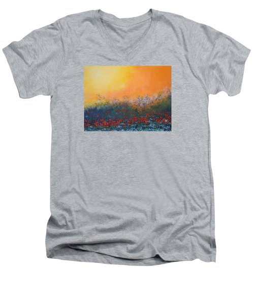 A Field In Bloom Men's V-Neck T-Shirt by Dan Whittemore