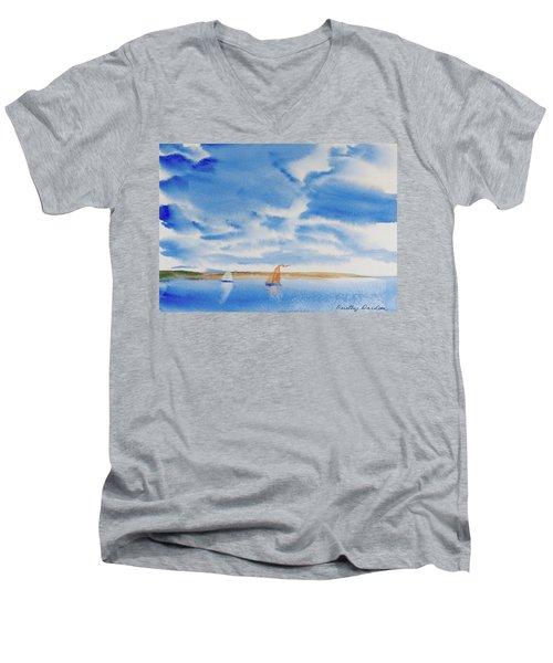 A Fine Sailing Breeze On The River Derwent Men's V-Neck T-Shirt