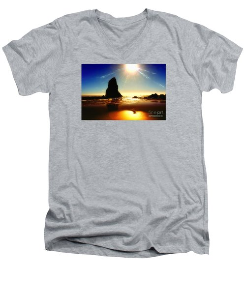 A Fire In The Sky Men's V-Neck T-Shirt by Scott Cameron