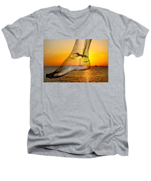 A Foot In The Sunset Men's V-Neck T-Shirt