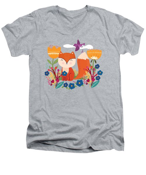 A Fox In The Flowers With A Flying Feathered Friend Men's V-Neck T-Shirt