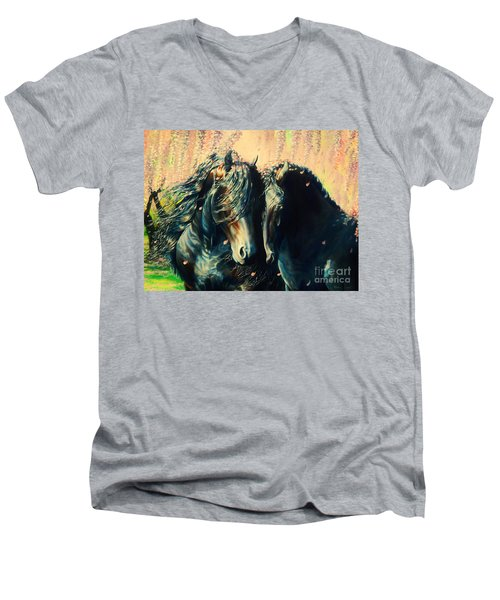 A Friesian Romance Men's V-Neck T-Shirt