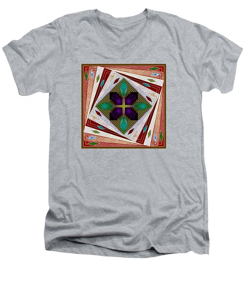 Men's V-Neck T-Shirt featuring the digital art A Game Of Diamonds by Mario Carini