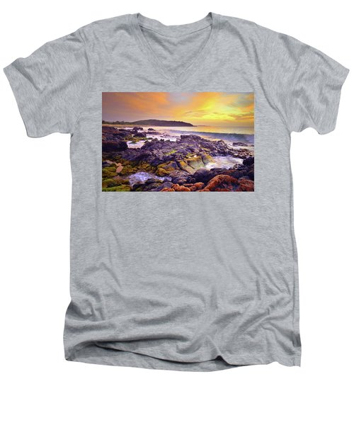 Men's V-Neck T-Shirt featuring the photograph A Gentle Wave At Sunset by Tara Turner