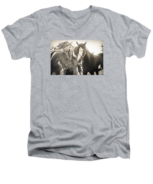 A Girl And Horses In The Sun Sepia Men's V-Neck T-Shirt by Kelly Hazel