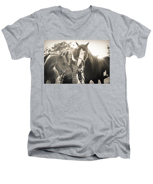 A Girl And Horses In The Sun Sepia Men's V-Neck T-Shirt
