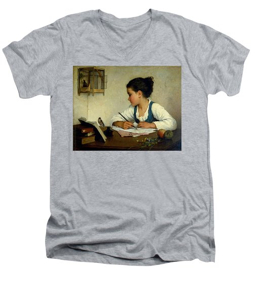 A Girl Writing. The Pet Goldfinch Men's V-Neck T-Shirt