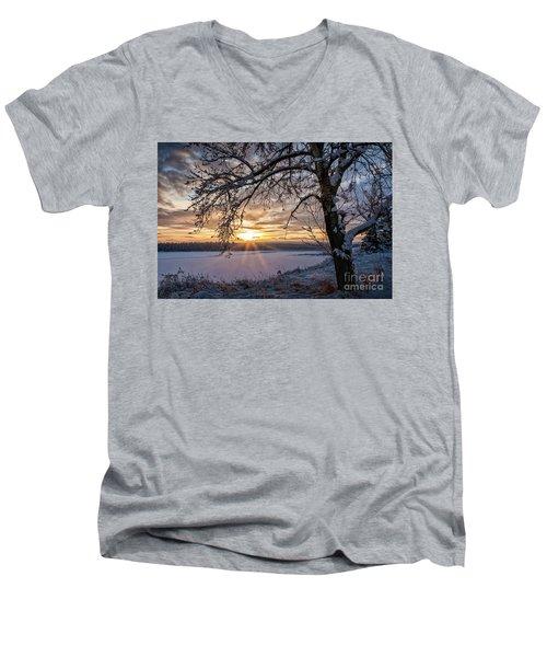 A Glenmore Sunset Men's V-Neck T-Shirt by Brad Allen Fine Art