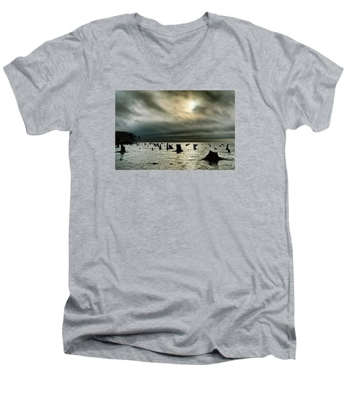 A Glimer Of Light Men's V-Neck T-Shirt by Robert Charity