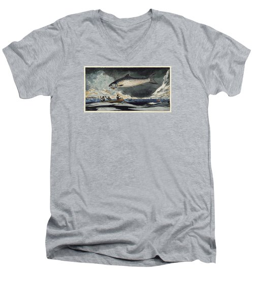 Men's V-Neck T-Shirt featuring the painting A Good Pool. Saguenay River by Winslow Homer