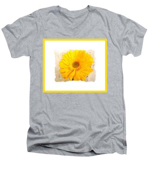 A Grand Yellow Gerber Men's V-Neck T-Shirt by Marsha Heiken