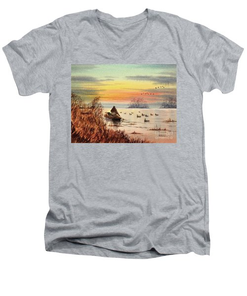 Men's V-Neck T-Shirt featuring the painting A Great Day For Duck Hunting by Bill Holkham