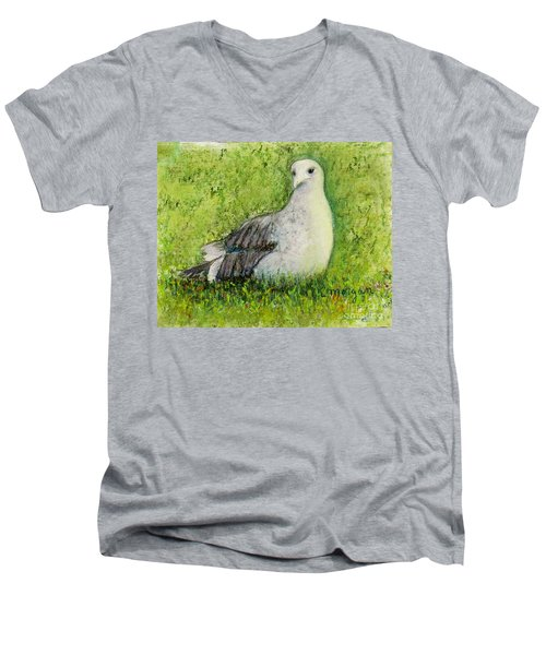 A Gull On The Grass Men's V-Neck T-Shirt by Laurie Morgan
