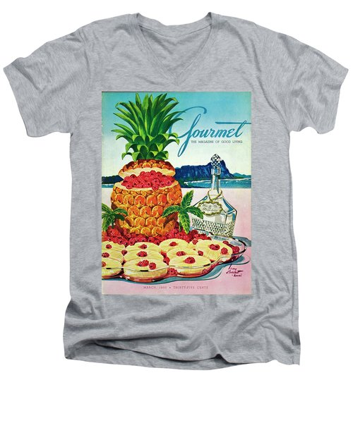 A Hawaiian Scene With Pineapple Slices Men's V-Neck T-Shirt