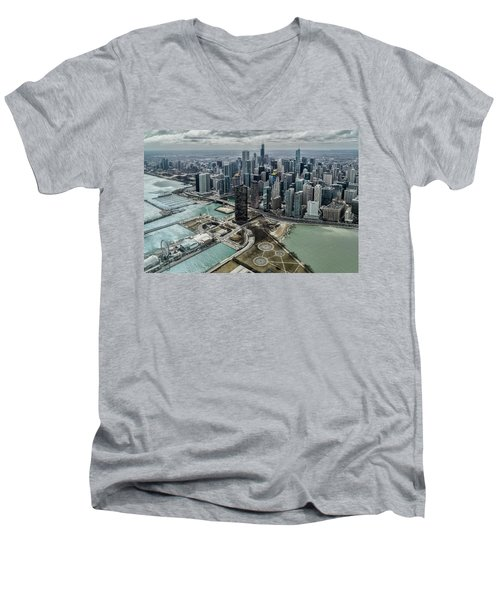 A Helicopter View Of Chicago's Lakefront Men's V-Neck T-Shirt