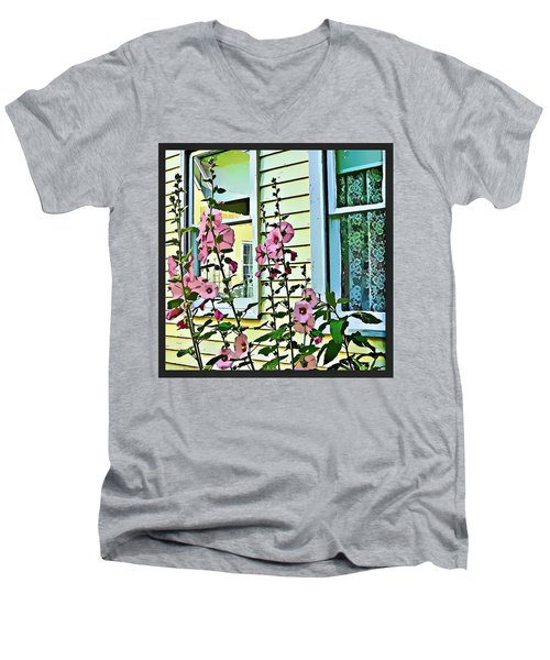 Men's V-Neck T-Shirt featuring the digital art A Holly Hocks Morning by Mindy Newman