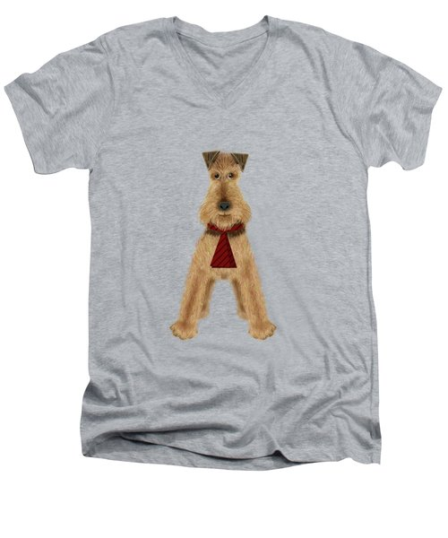 A Is  For Airedale Men's V-Neck T-Shirt