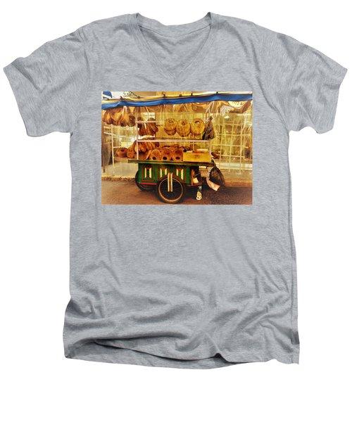 A Kaake Street Vendor In Beirut Men's V-Neck T-Shirt by Funkpix Photo Hunter