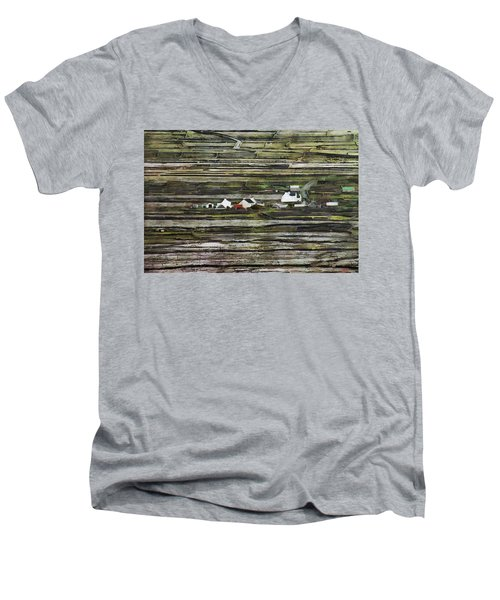 A Landscape With A Farm Men's V-Neck T-Shirt