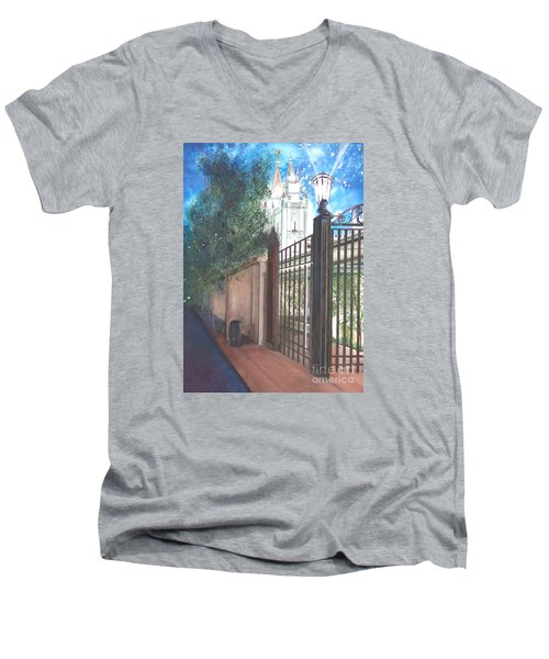 Men's V-Neck T-Shirt featuring the painting A Light Unto The World by Jane Autry
