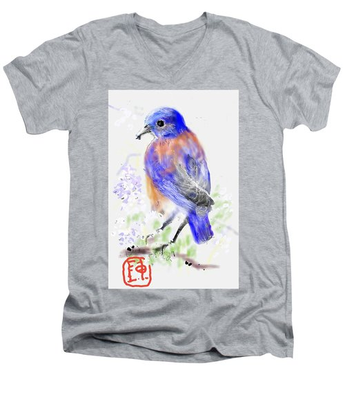 A Little Bird In Blue Men's V-Neck T-Shirt