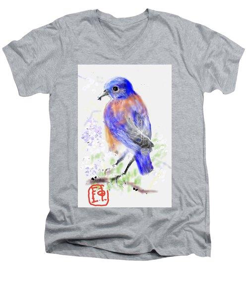 A Little Bird In Blue Men's V-Neck T-Shirt