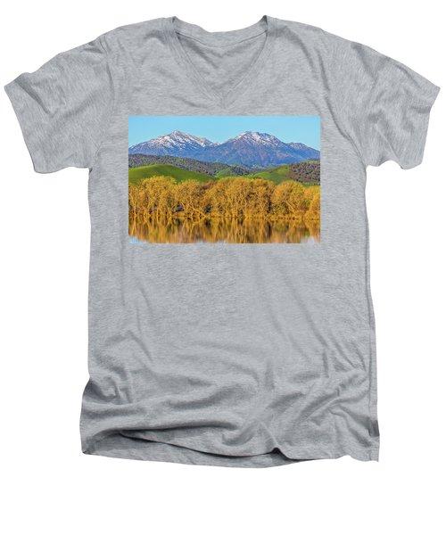 A Little Snow On Mt. Diablo Men's V-Neck T-Shirt