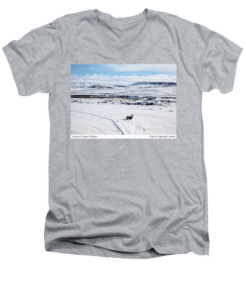 A Lone Buck Deer In Carbon County, Wyoming Men's V-Neck T-Shirt